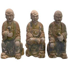 3 19th c. Wooden Buddha Statues