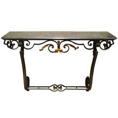 20th Century Iron Console Table with Serpentino Marble Top