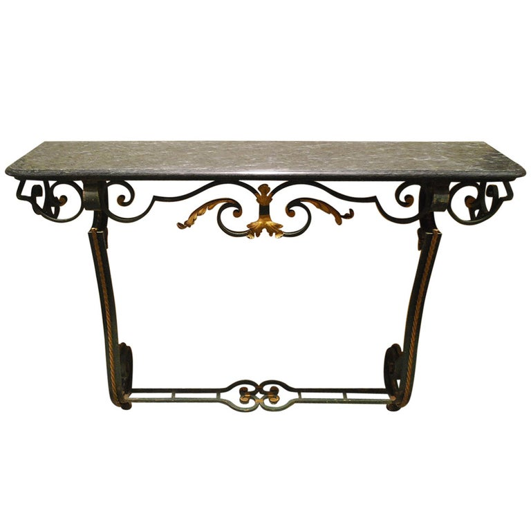 20th Century Iron Console Table with Serpentino Marble Top For Sale