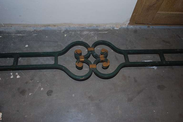 Mid-20th Century 20th Century Iron Console Table with Serpentino Marble Top For Sale