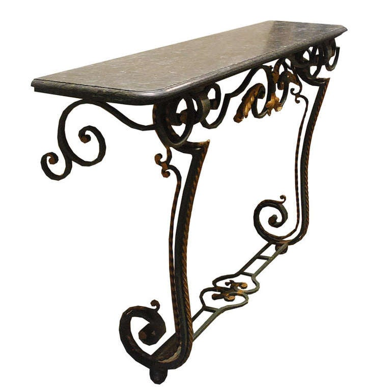 Empire 20th Century Iron Console Table with Serpentino Marble Top For Sale