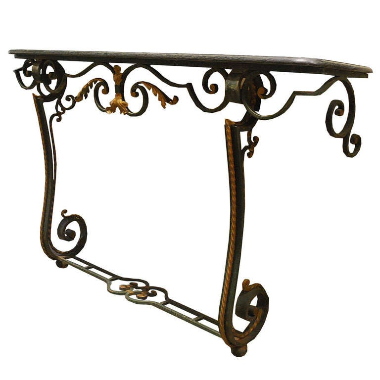 French 20th Century Iron Console Table with Serpentino Marble Top For Sale