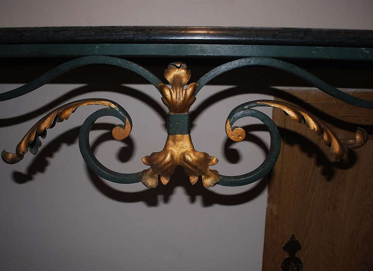 20th Century Iron Console Table with Serpentino Marble Top In Good Condition For Sale In Casteren, NL