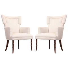Wing Back Easy Chairs Attributed to T.H. Robsjohn-Gibbings
