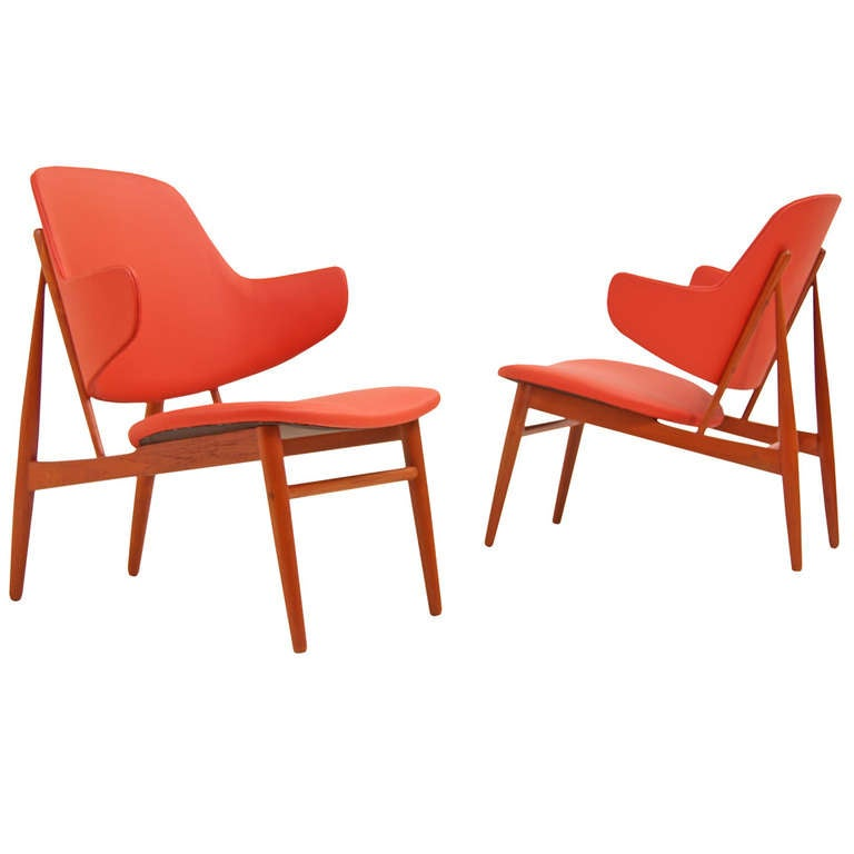 danish modern teak penguin chairs by ib kofod larsen at 1stdibs