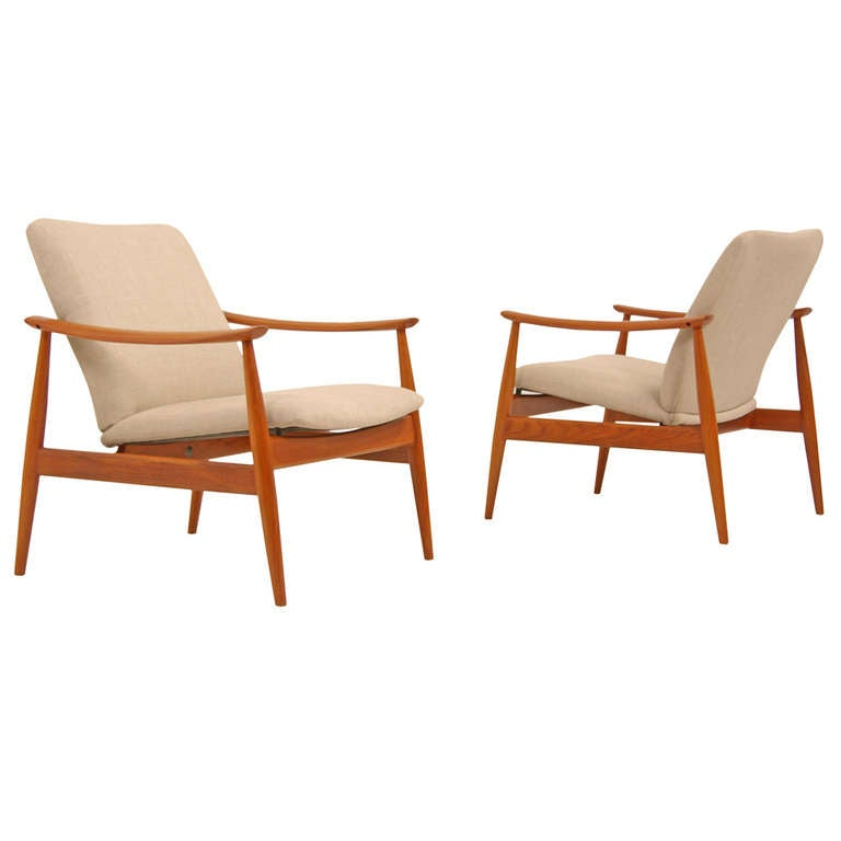 danish modern teak lounge chairs by finn juhl at 1stdibs