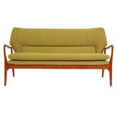 Vintage Teak Wingback Sofa by Bovenkamp
