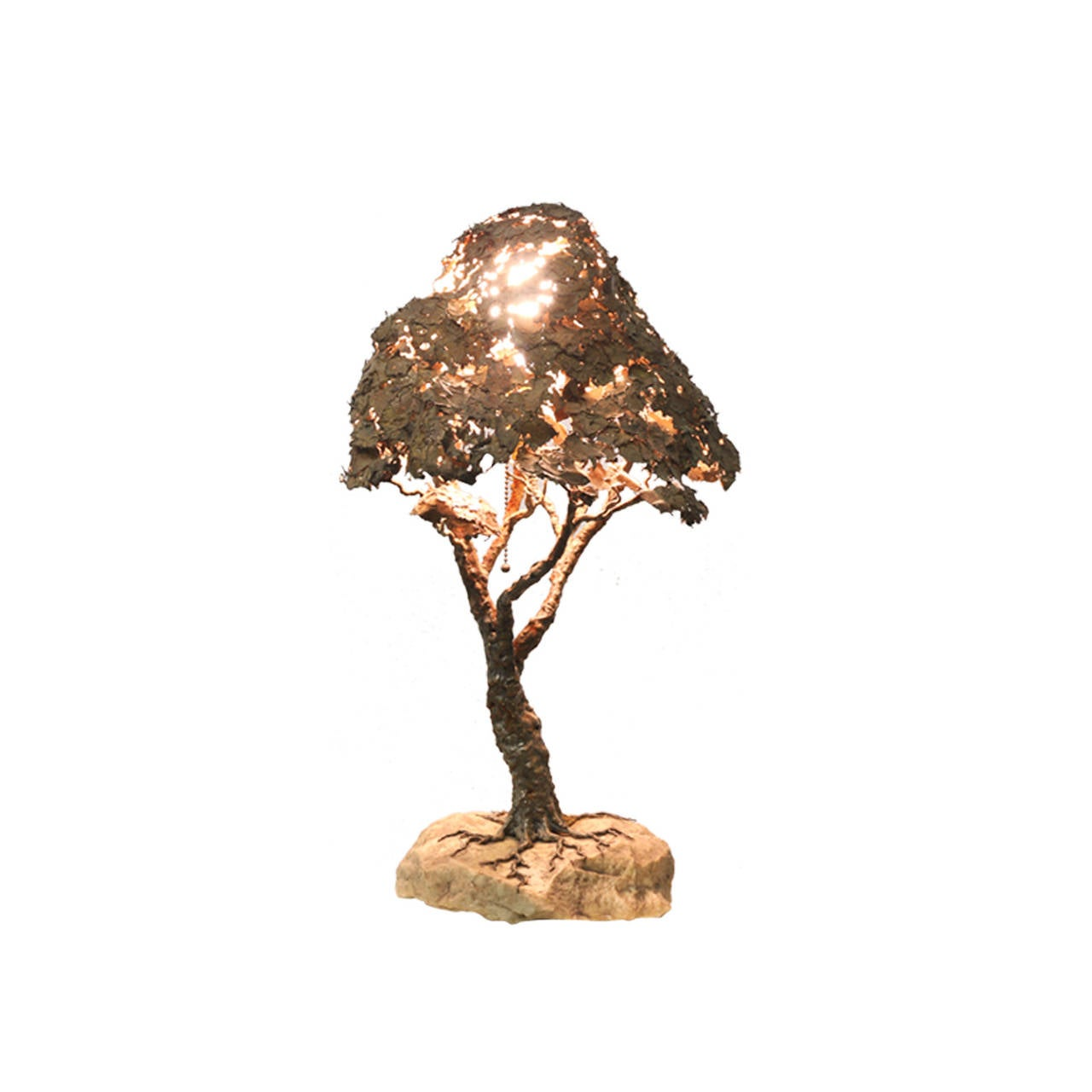 Vintage Bronze Tree Sculpture Table Lamp For Sale At 1stdibs