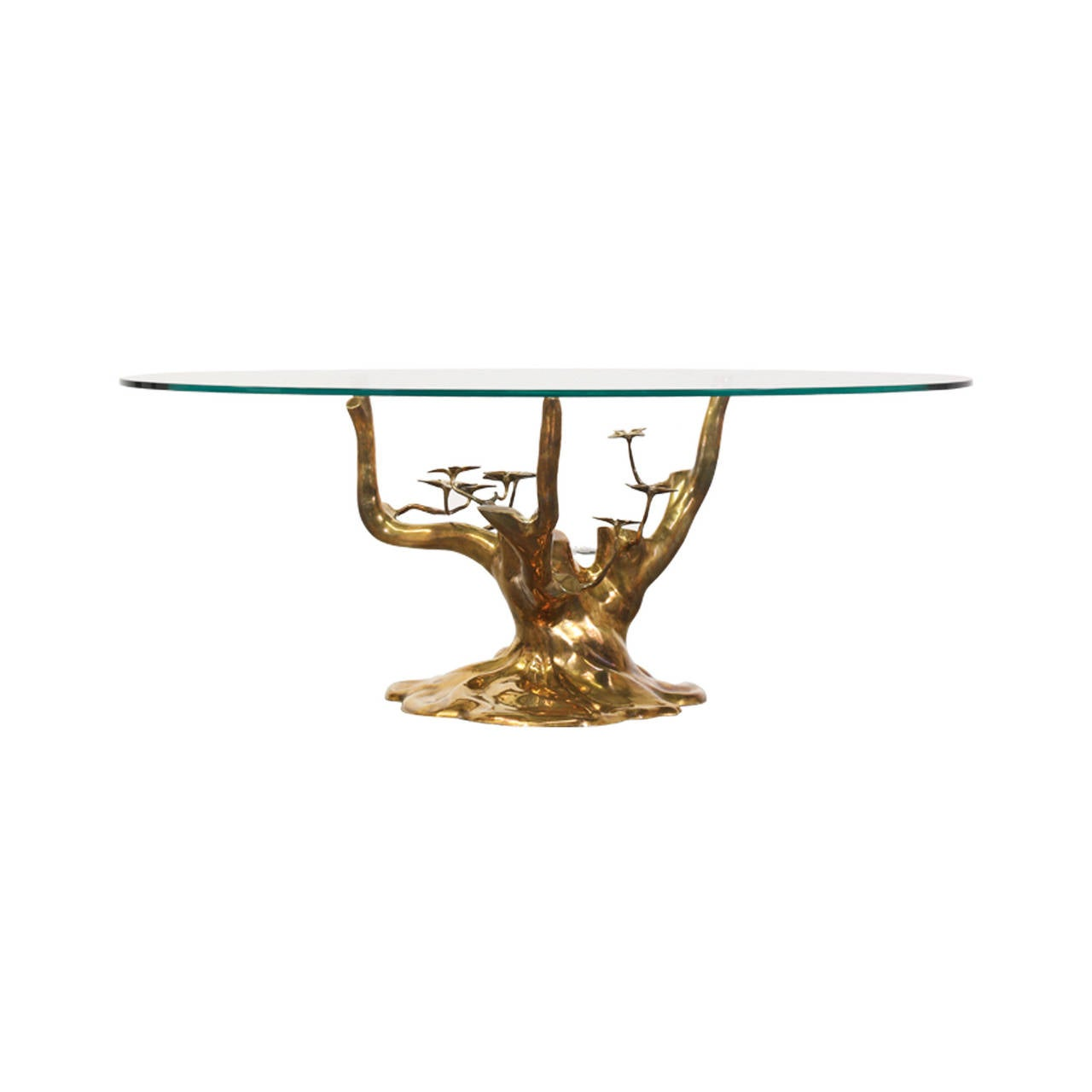 Vintage Brass Tree Sculpture Coffee Table Attributed To Willy Daro Image 2