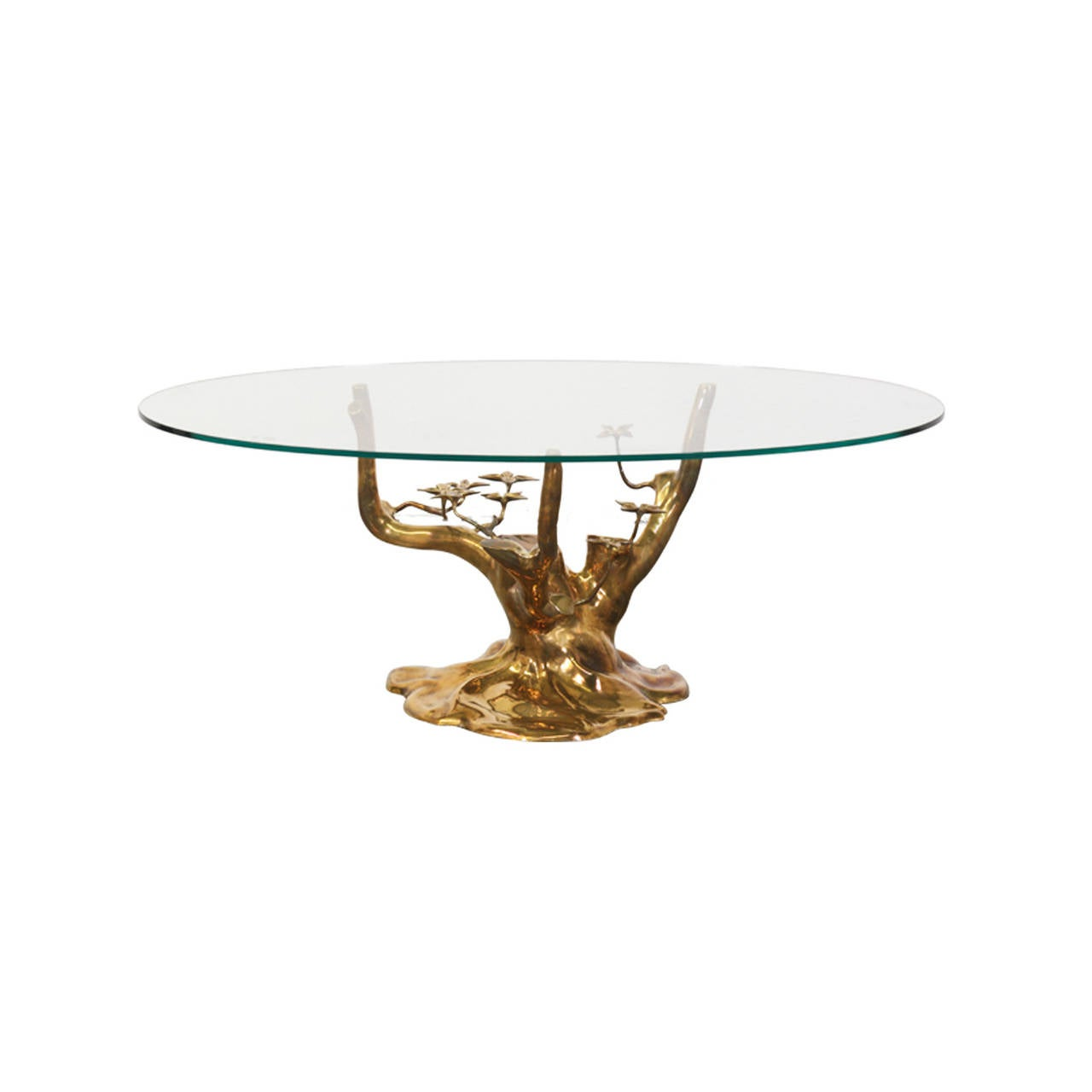 Vintage Brass Tree Sculpture Coffee Table Attributed To
