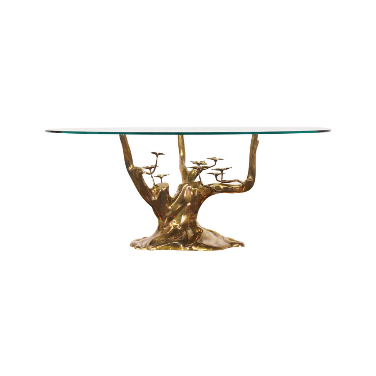 Vintage Brass Tree Sculpture Coffee Table Attributed To Willy Daro Image 4