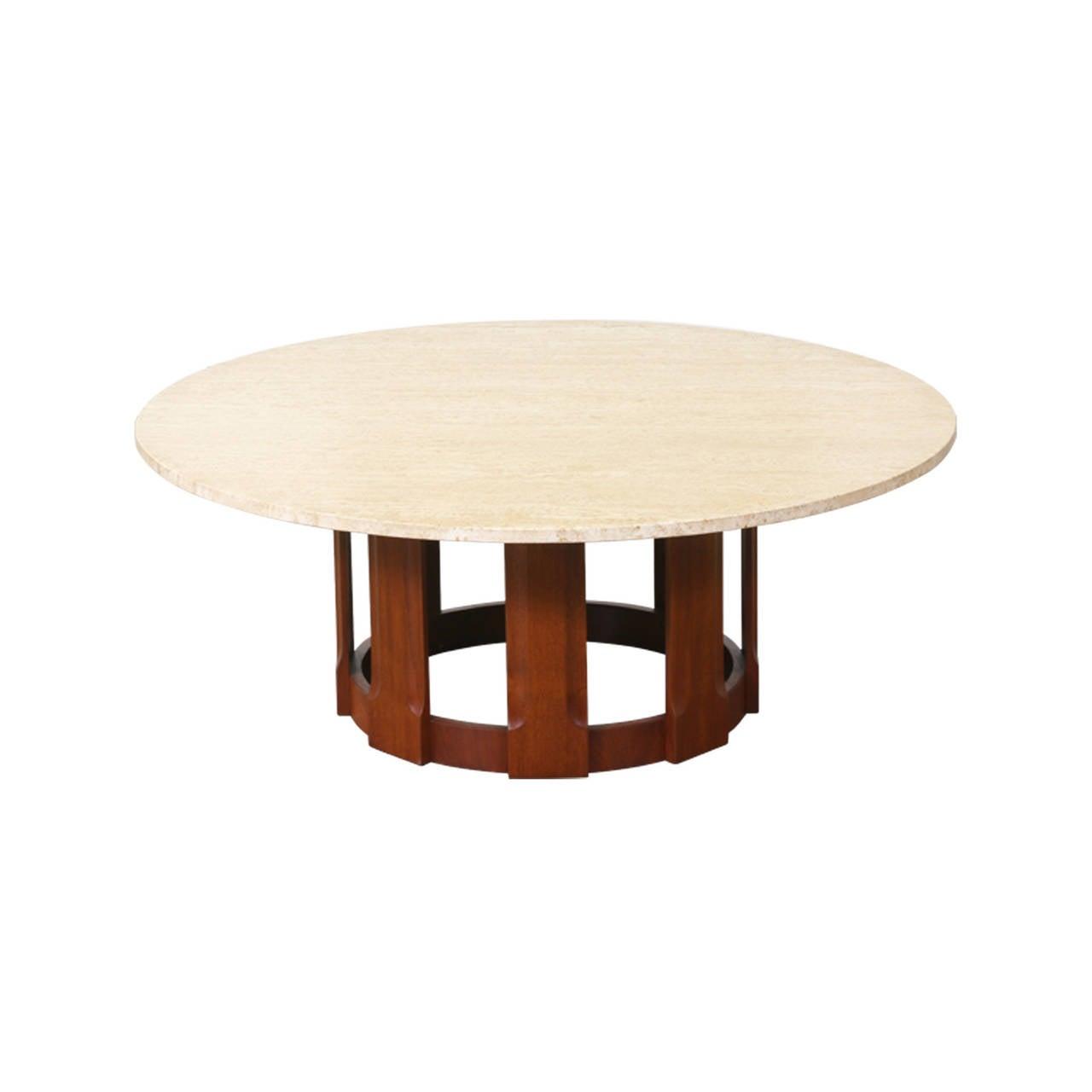 Brown Saltman Walnut Coffee Table W Travertine Top At 1stdibs