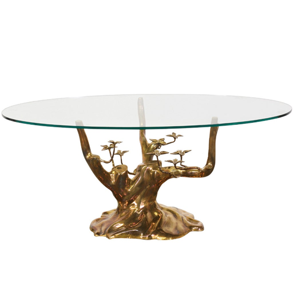 Vintage Brass Tree Sculpture Coffee Table Attributed To Willy Daro At 1stdibs