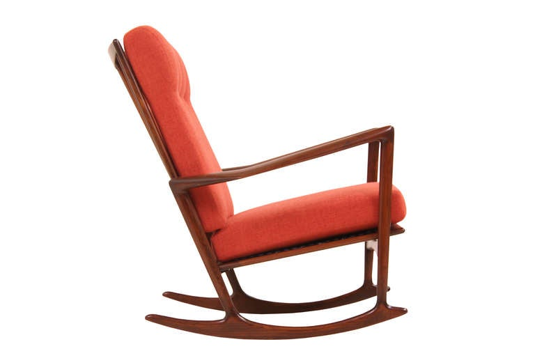 Danish Modern Walnut Rocking Chair by IB Kofod Larsen at 1stdibs