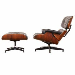 Charles Eames Leather and Rosewood 670 and 671 Lounge Chair with Ottoman