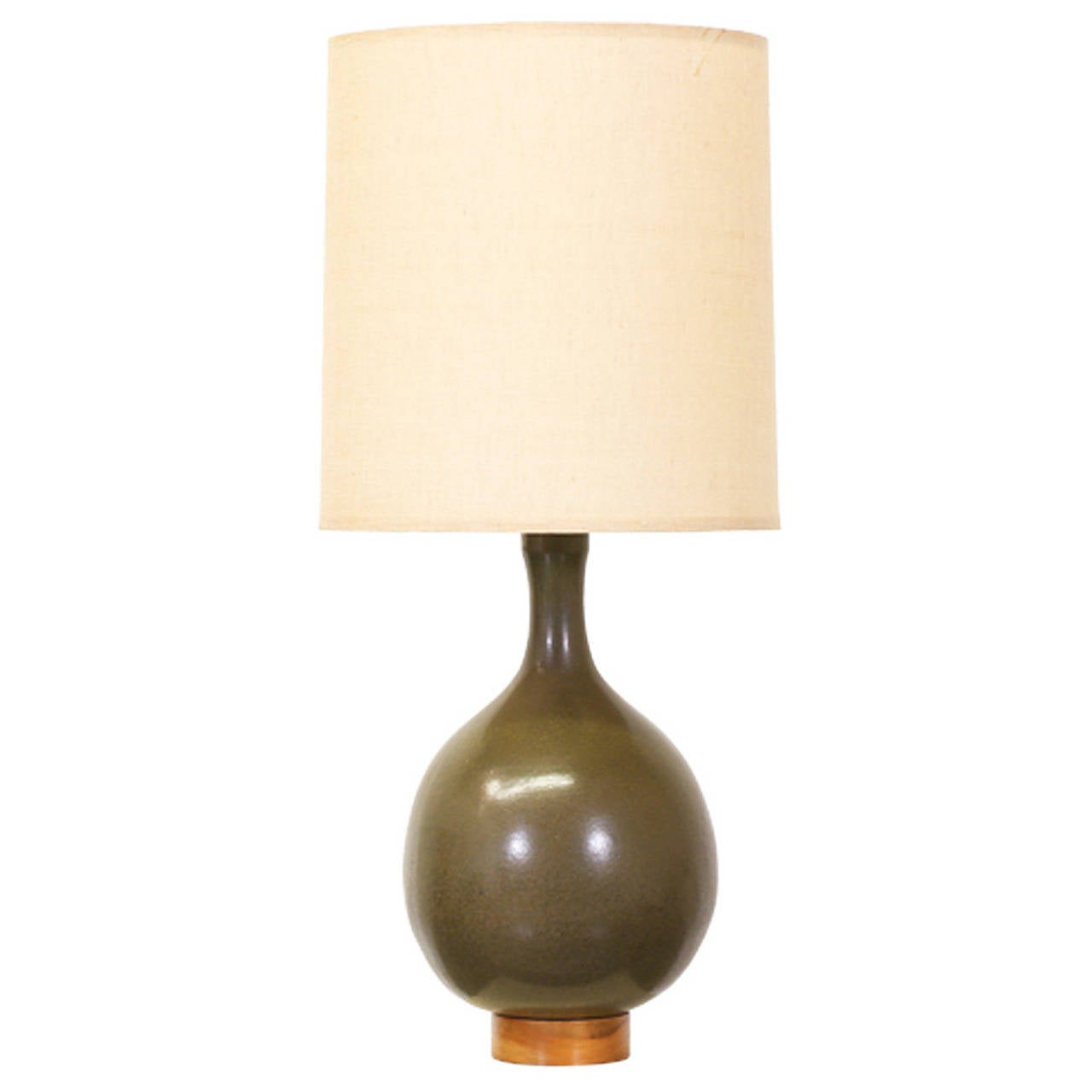 David cressey olive green ceramic table lamp at 1stdibs