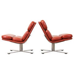 """John Follis """"Solo"""" Leather Lounge Chairs for Fortress"""
