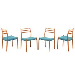 Niels O. Moller Model #78 Teak Dining Chairs for J.L Mollers Mobelfabrik