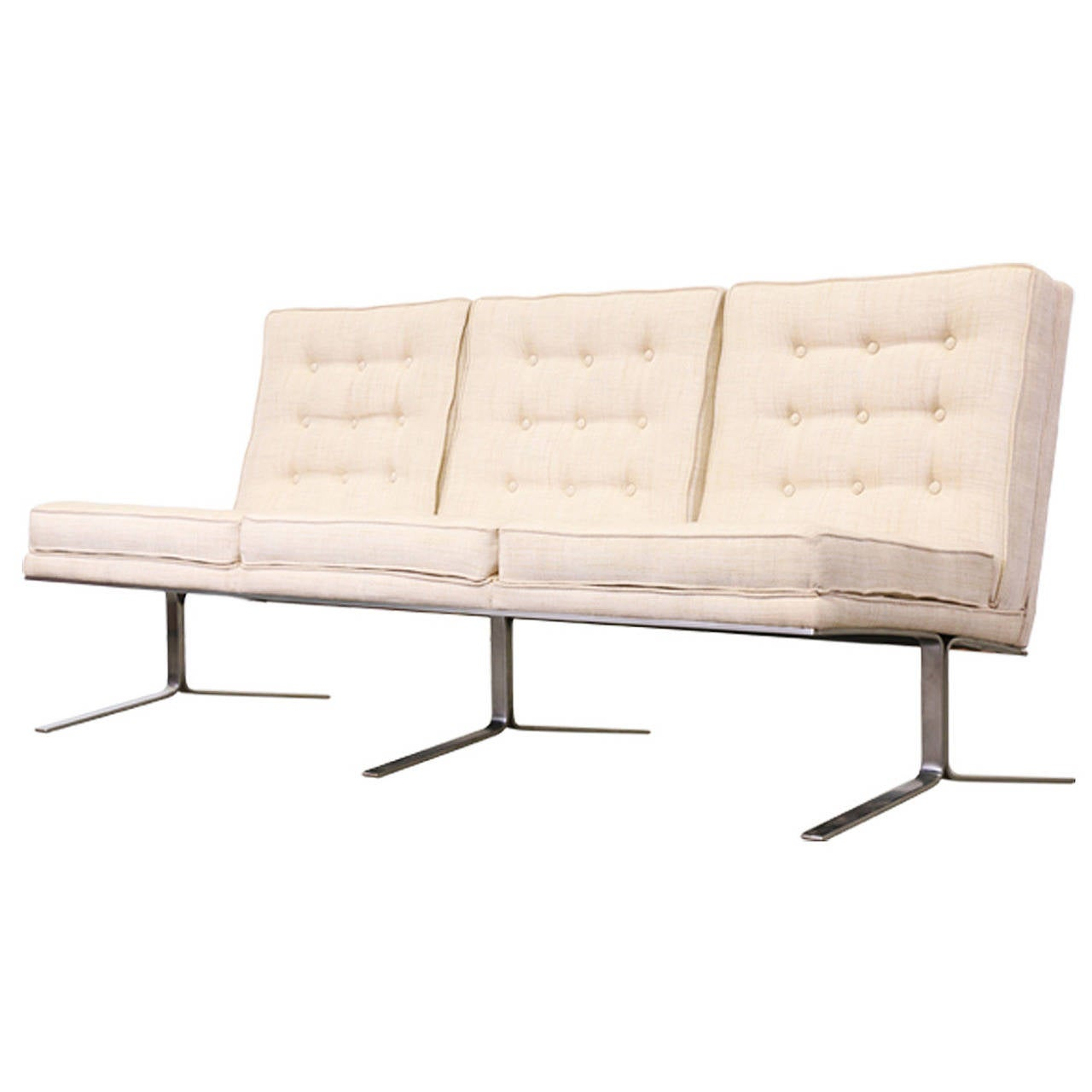 florence knoll style tufted sofa w steel legs at 1stdibs. Black Bedroom Furniture Sets. Home Design Ideas