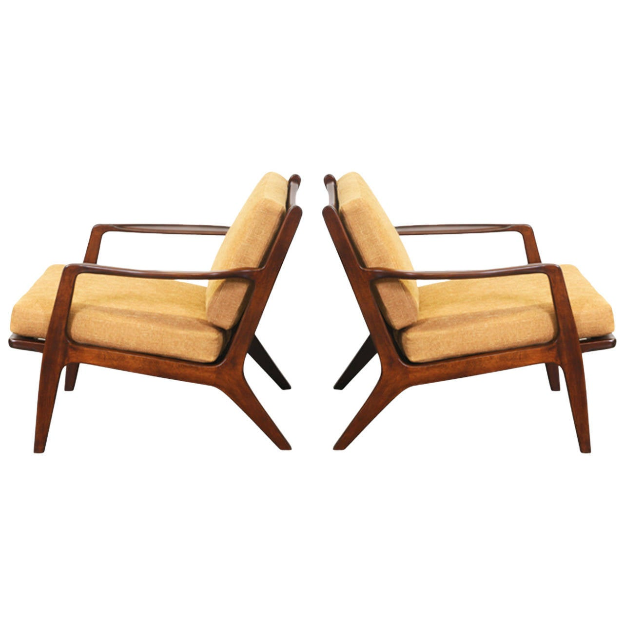 Kofod Larsen Lounge Chairs for Selig at 1stdibs