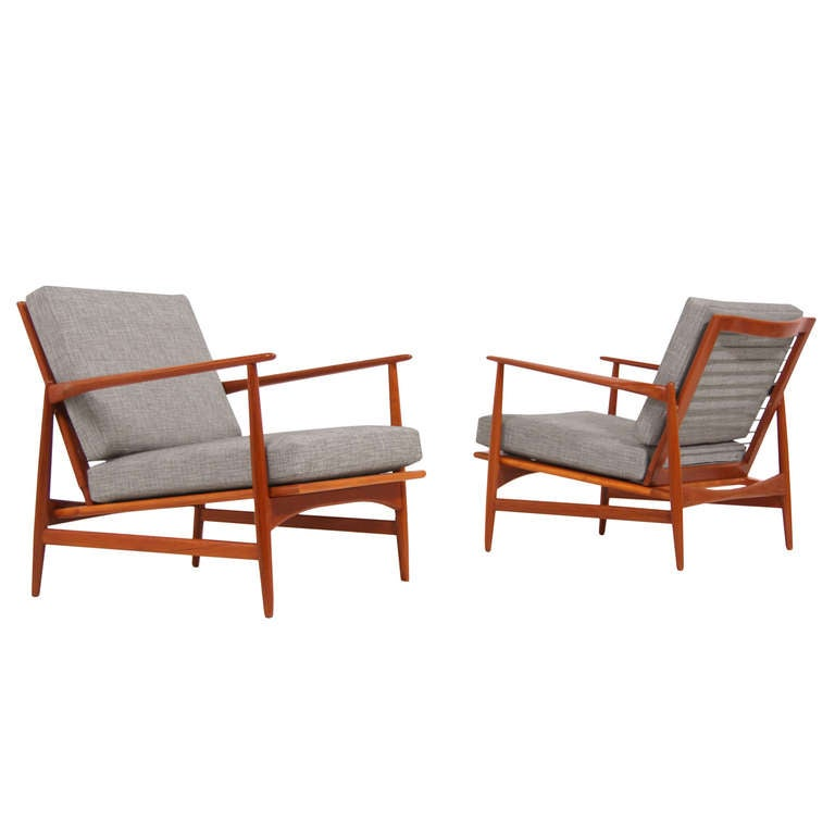 selig danish modern teak lounge chairs by ib kofod larsen at 1stdibs