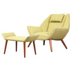Kurt Ostervig Model #12 Easy Chair with Ottoman for Schiller Polstermobelfabrik