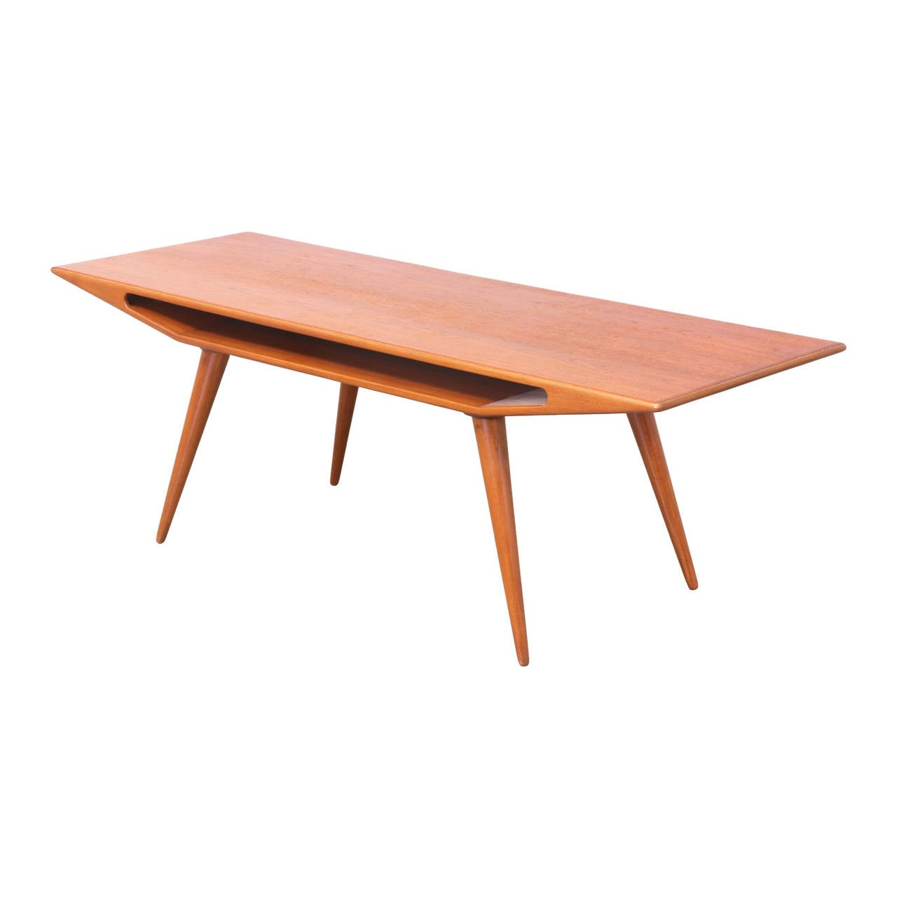 Danish modern smile teak coffee table at 1stdibs Modern teak coffee table