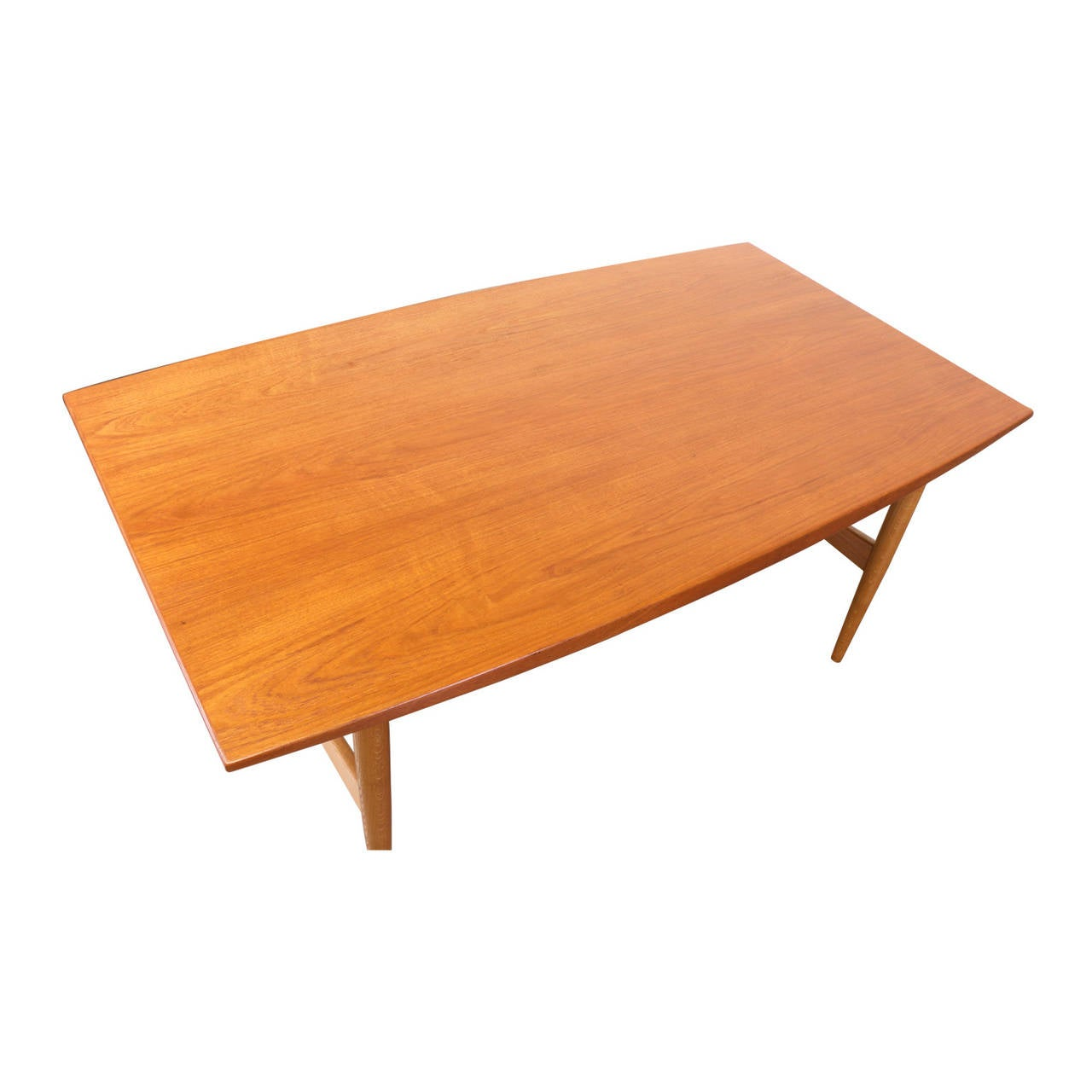 Danish modern teak and oak dining table with brass accent for Modern oak dining table