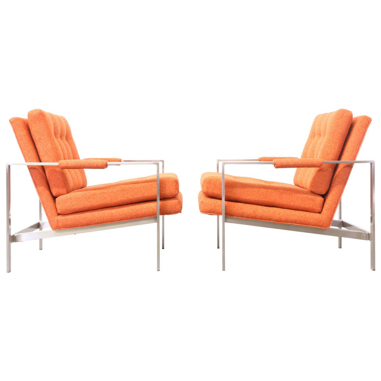 Milo Baughman Stainless Steel Lounge Chairs for Thayer Coggin at 1stdibs