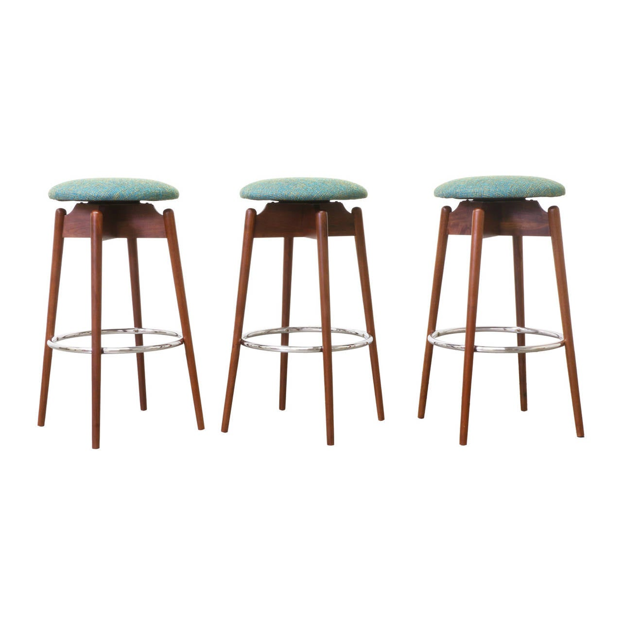 Mid Century Modern Walnut Sculpted Bar Stools at 1stdibs : 2l from www.1stdibs.com size 1280 x 1280 jpeg 67kB