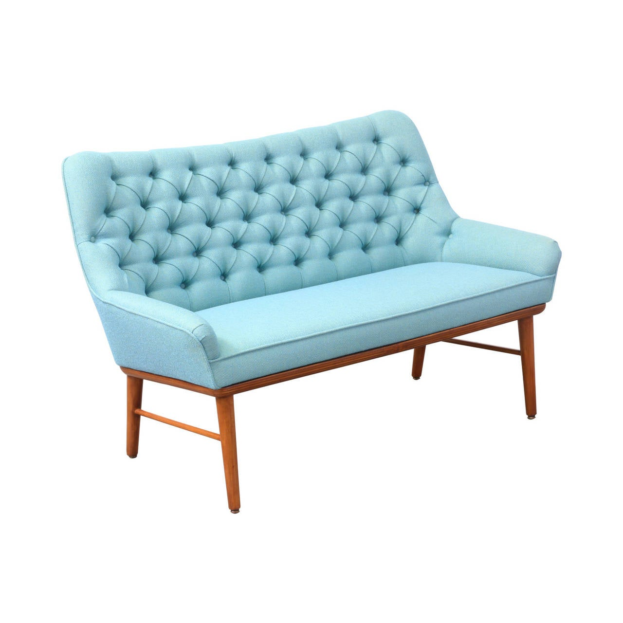Mid century modern tufted loveseat for sale at 1stdibs for Mid century modern seating