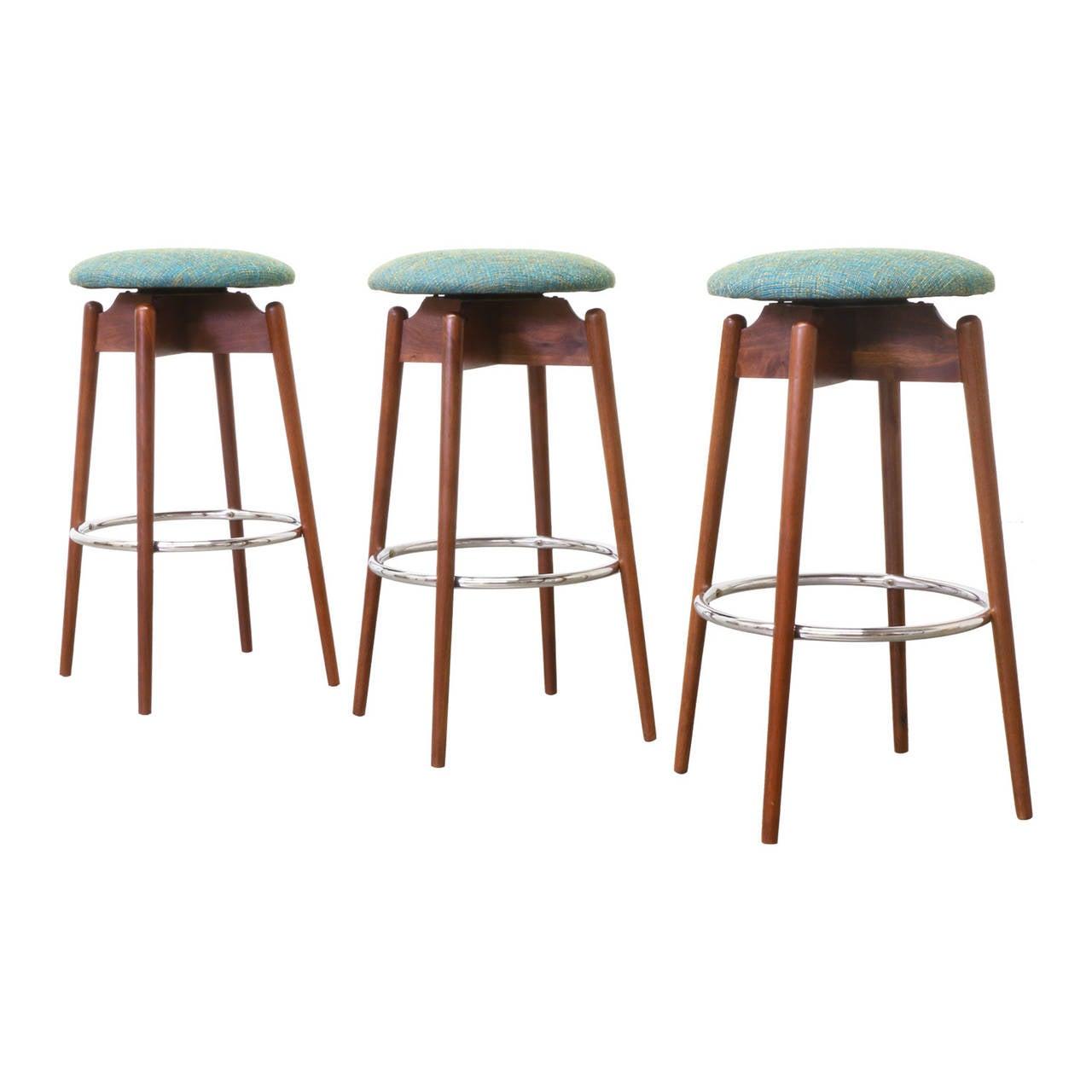 Mid century modern walnut sculpted bar stools 3