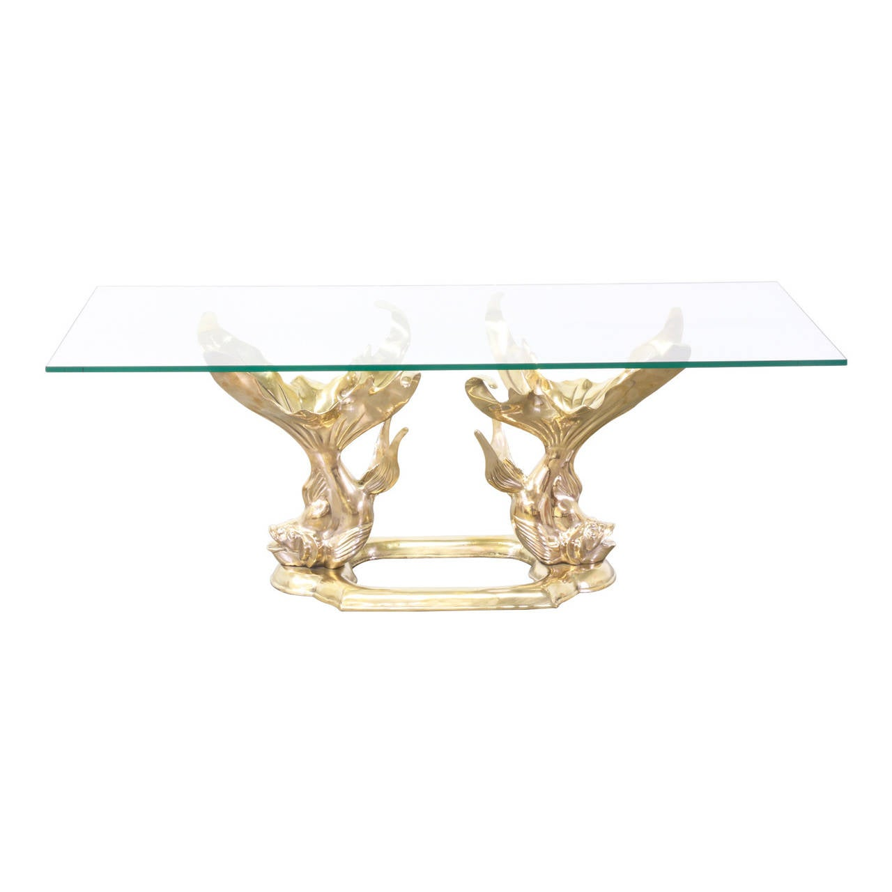 Vintage Brass Goldfish Coffee Table With Glass Top At 1stdibs