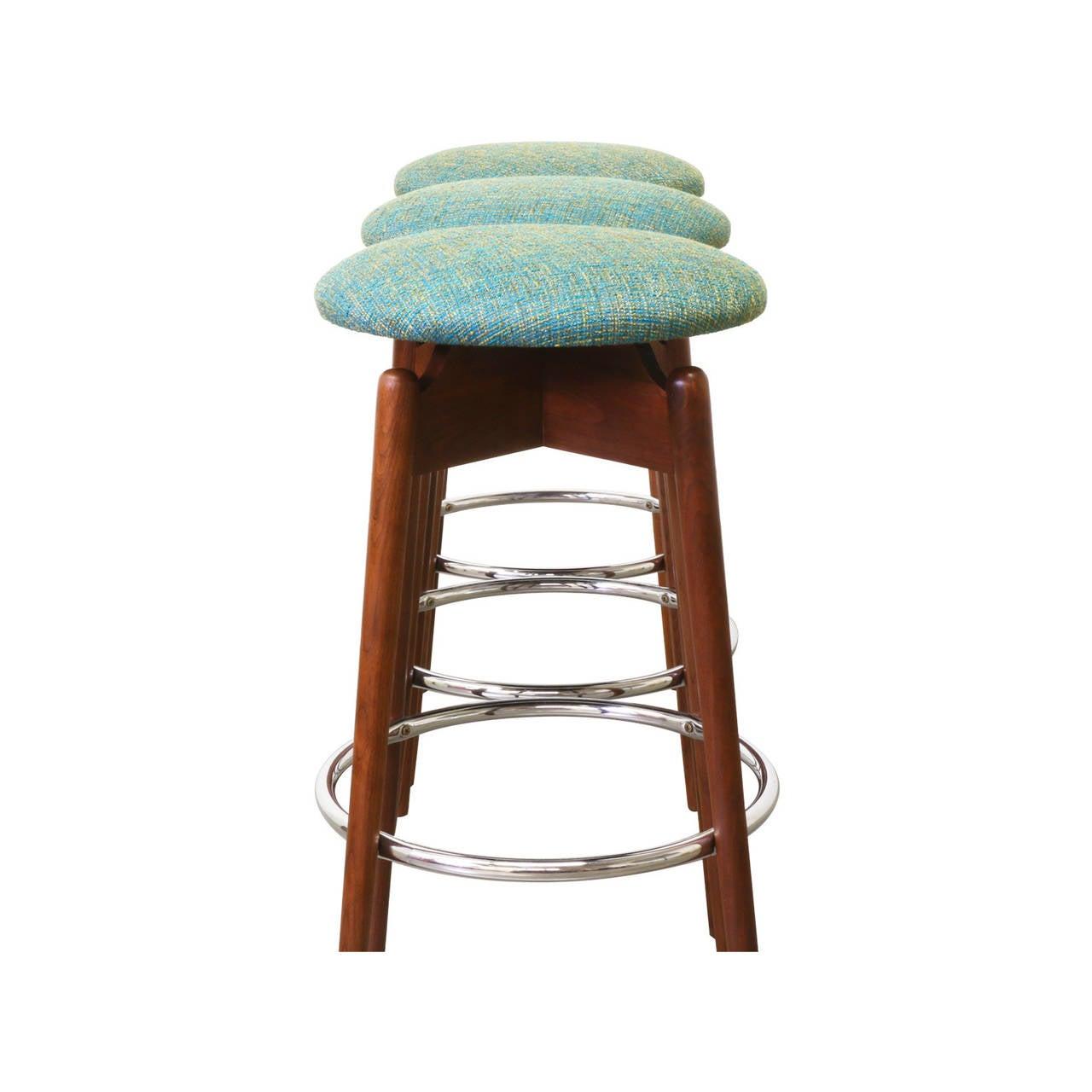 Mid century modern walnut sculpted bar stools at 1stdibs