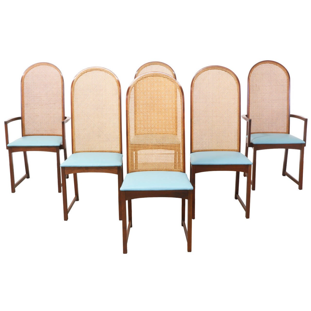 Milo Baughman Dining Chairs With Cane Backrest For Thayer