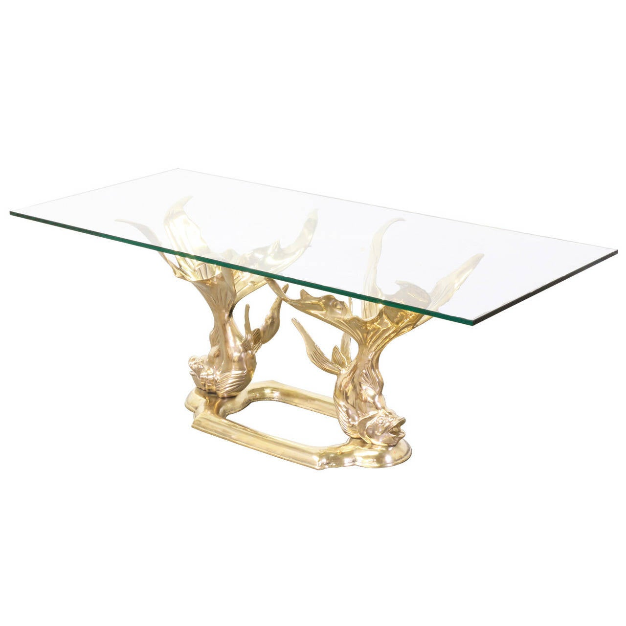 Vintage brass goldfish coffee table with glass top at 1stdibs Antique brass coffee table
