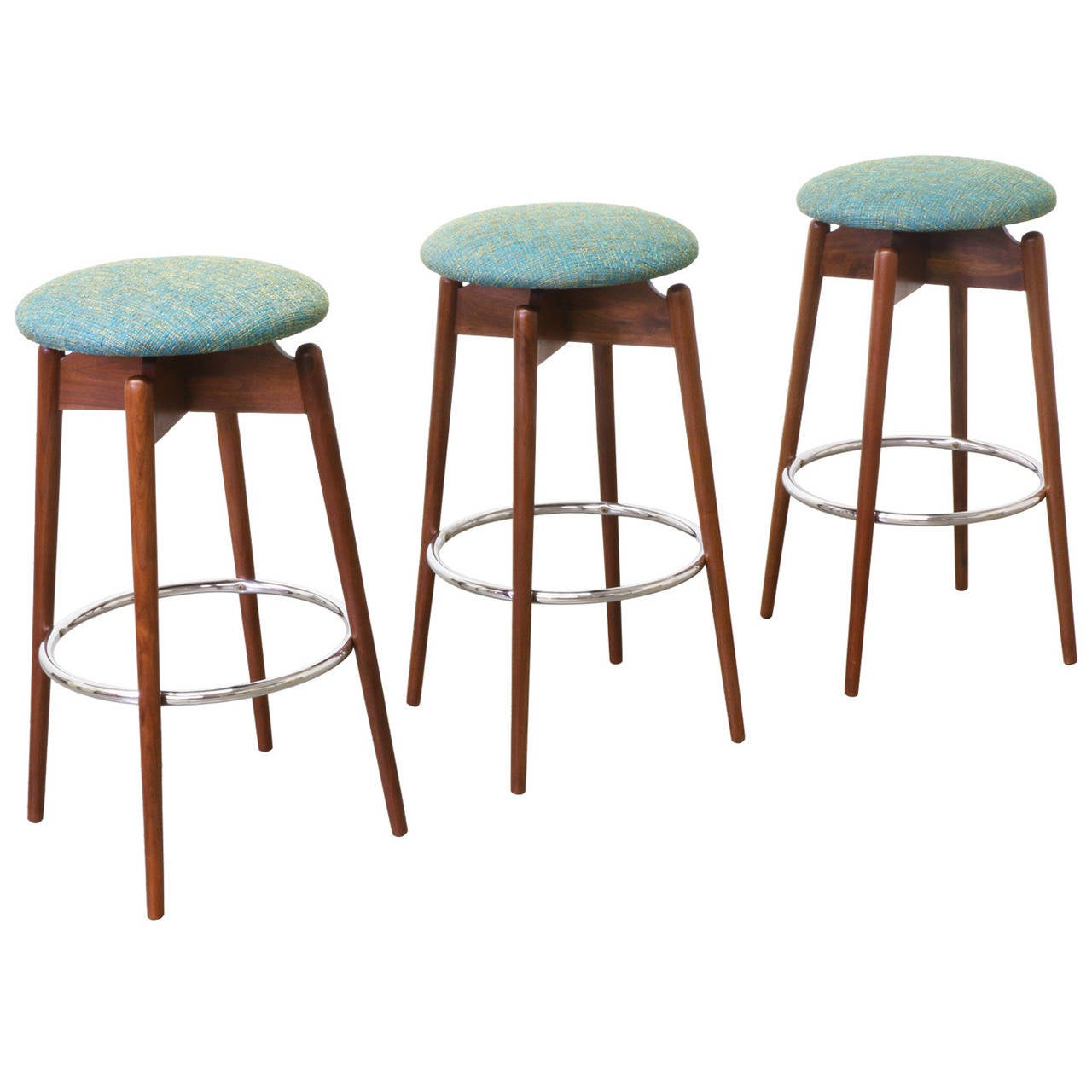 Mid-Century Modern Walnut Sculpted Bar Stools 1