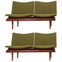 Danish Modern Walnut Modular Sofa by Hans Olsen