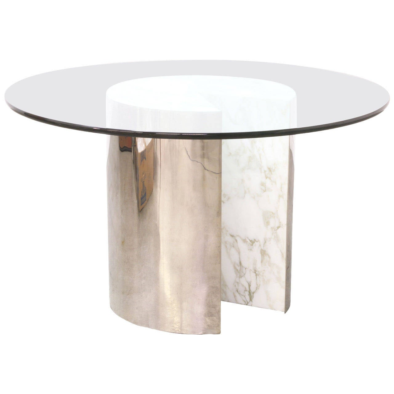 Vintage stainless steel and carrera marble dining table for Marble dining room table
