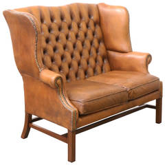 Original Leather Button Tufted Chesterfields Loveseat
