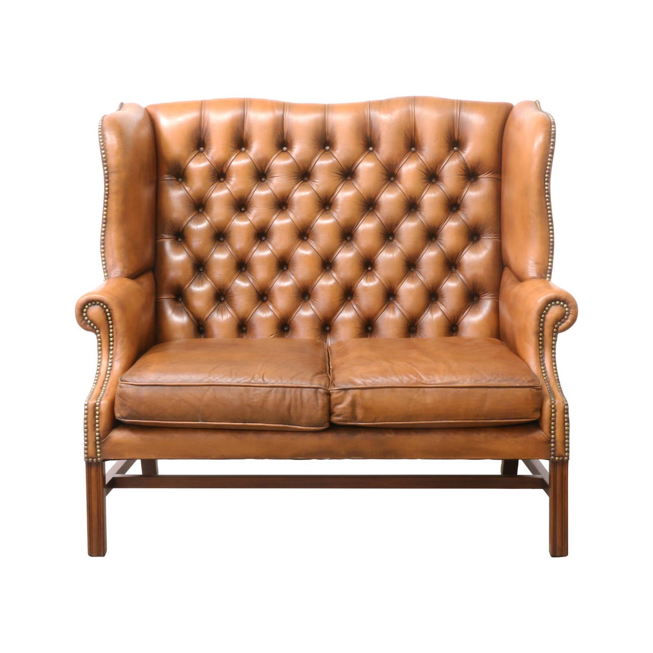 Original Leather Button Tufted Chesterfields Loveseat At
