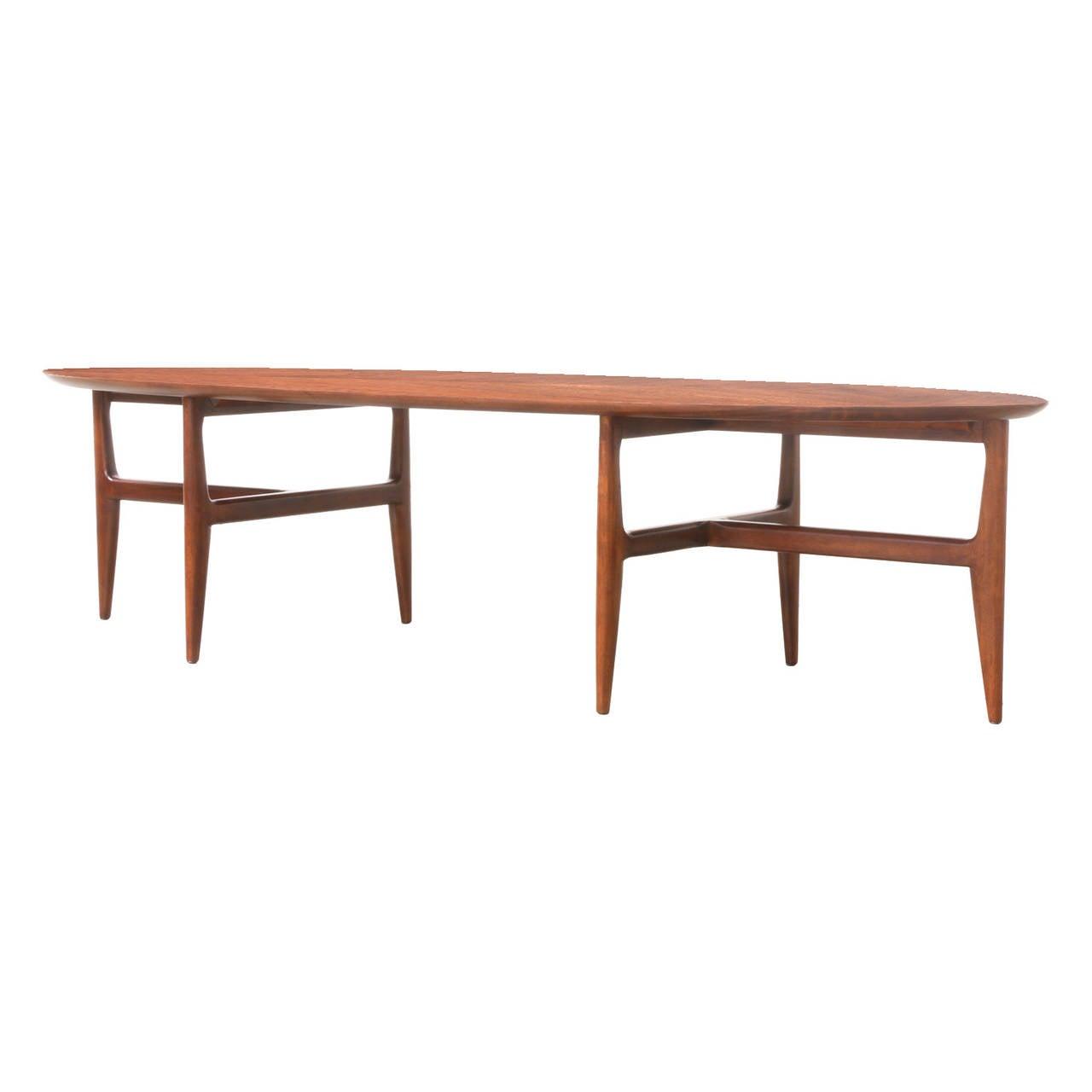Mid Century Surfboard Coffee Table At 1stdibs: Mid-Century Modern Walnut Surfboard Coffee Table At 1stdibs