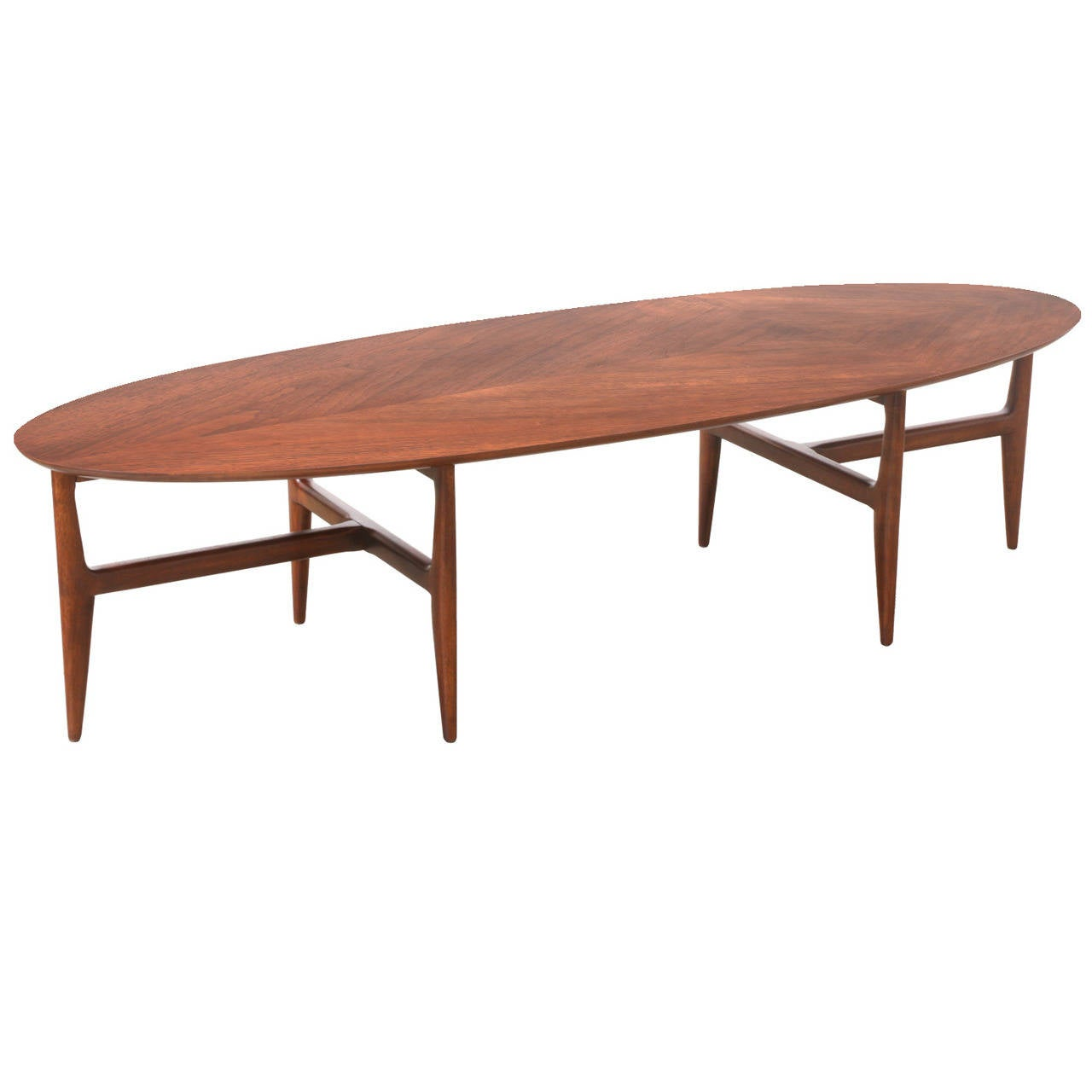 Mid-Century Modern Walnut Surfboard Coffee Table At 1stdibs