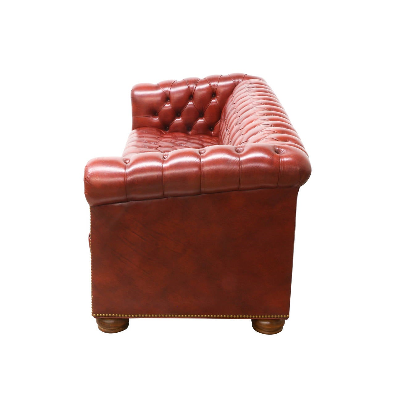 Vintage red leather chesterfield sofa at 1stdibs