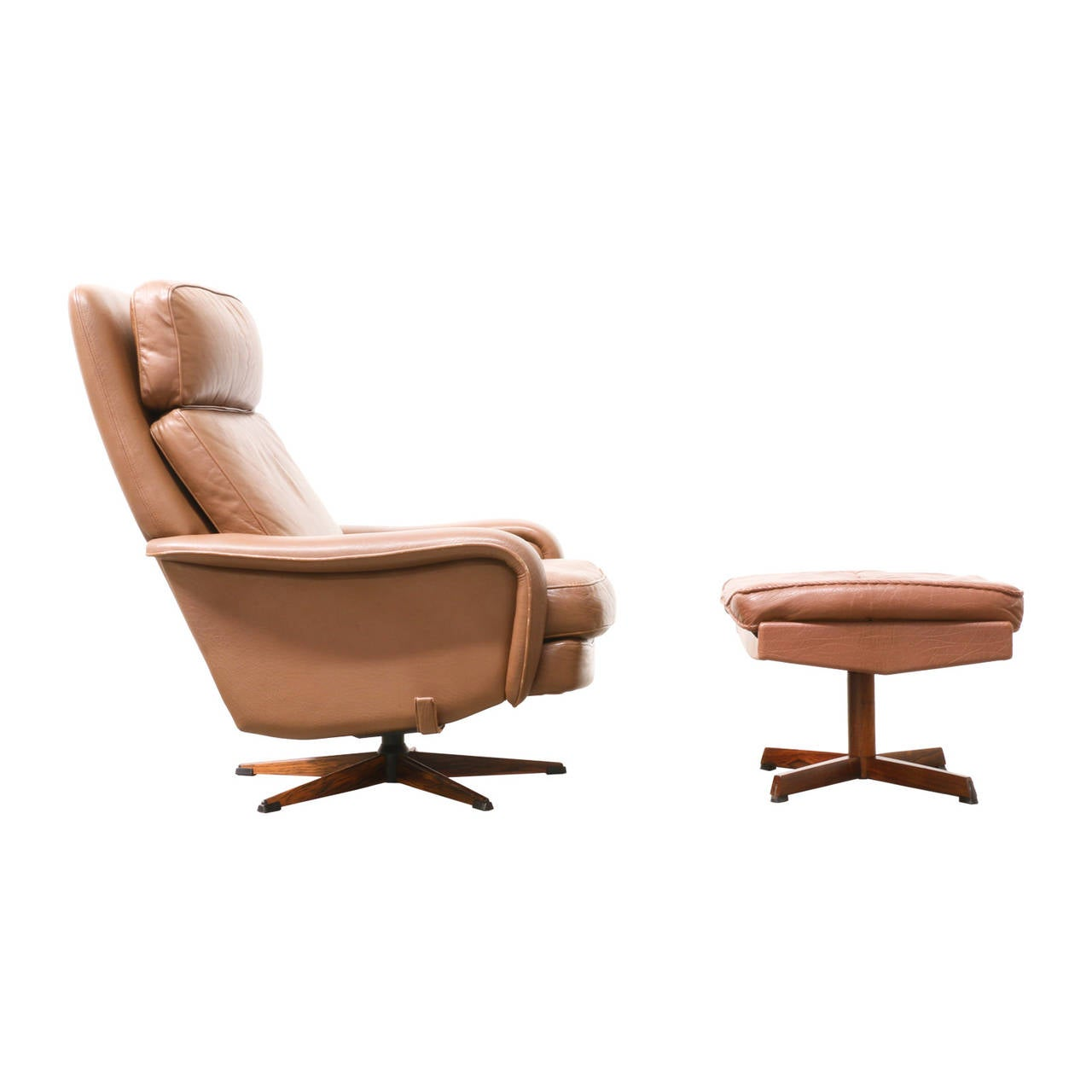 Danish modern leather lounge chair with ottoman at 1stdibs for Modern leather chair