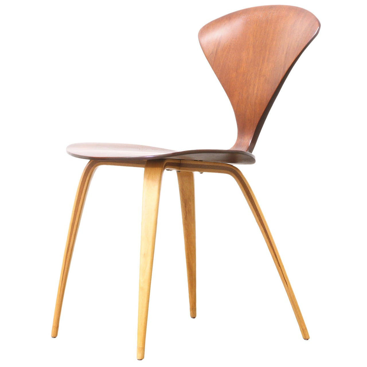 Plycraft walnut side chair by norman cherner at 1stdibs