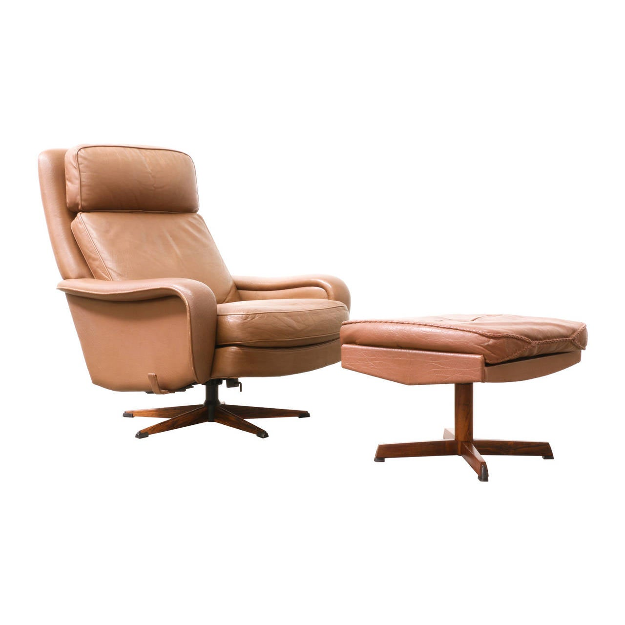 Danish modern leather lounge chair with ottoman at 1stdibs for Modern leather club chairs