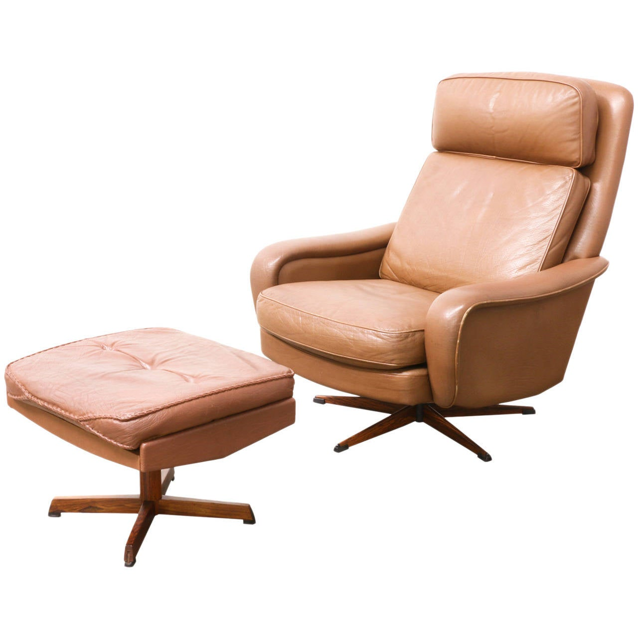 Danish Modern Leather Lounge Chair With Ottoman At 1stdibs