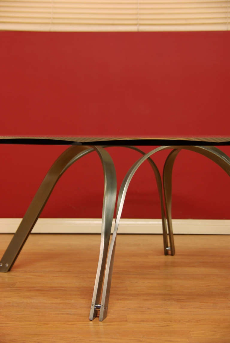 Steel and glass coffee table by tri mark designs at 1stdibs for Tri steel home plans