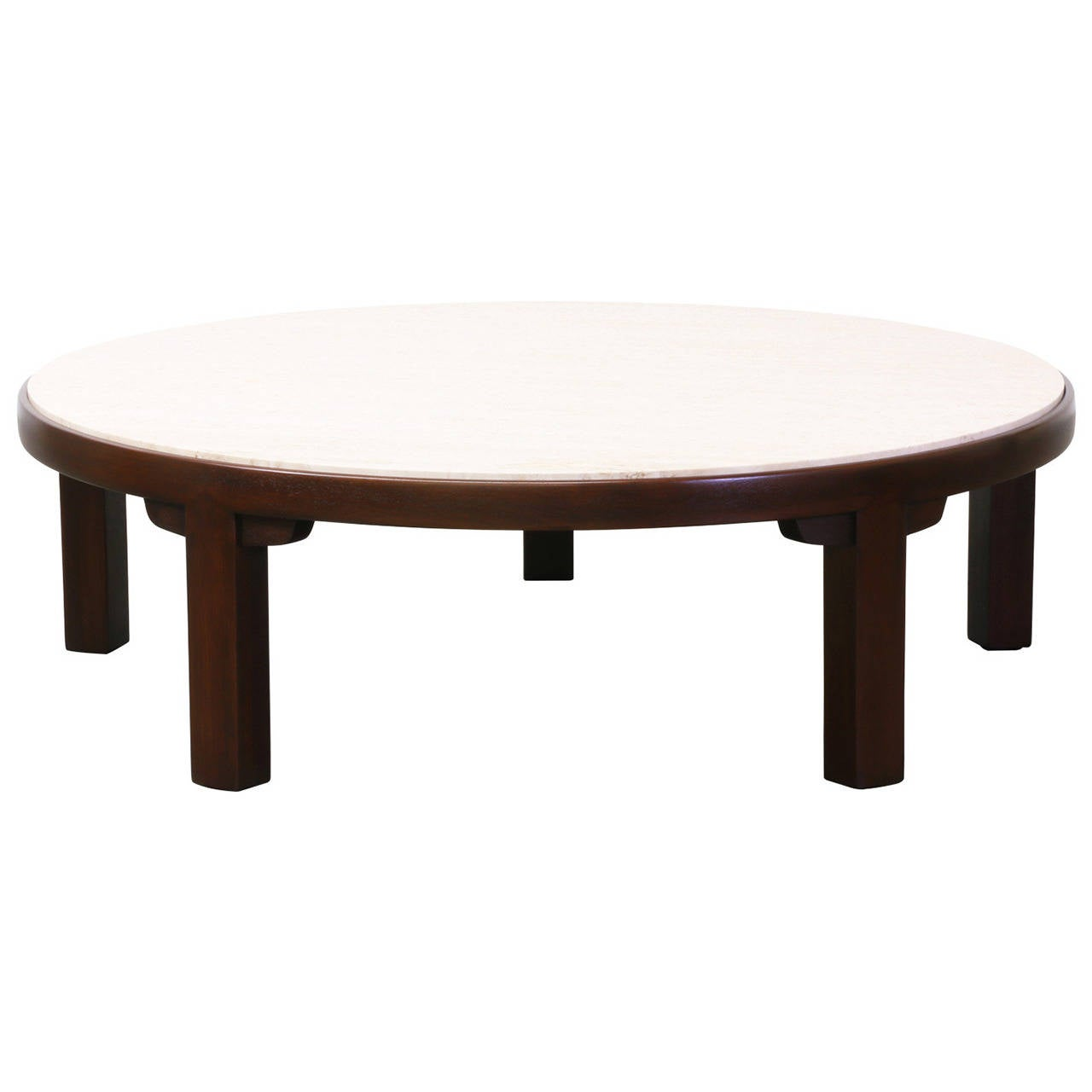 Edward J Wormley Coffee Table W Travertine Top For Dunbar At 1stdibs